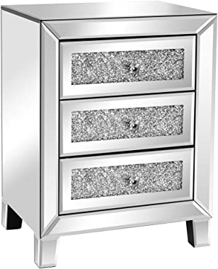 VINGLI Mirrored Nightstand with 3 Drawers Modern End Table Bed Side Table with Mirrored Finish, 17.72-inch W x 13.78-inch D x