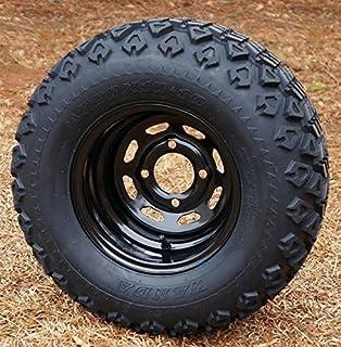 """10"""" Black Steel Golf Cart Wheels and 20x10-10 DOT All Terrain Golf Cart Tires - Set of 4"""