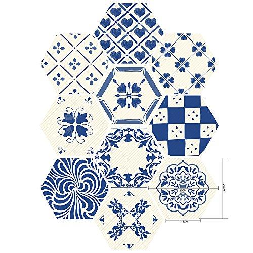 Hourongw Papel pintado 10 pegatinas murales de pared DIY Hexágono azulejos de piso pegatinas