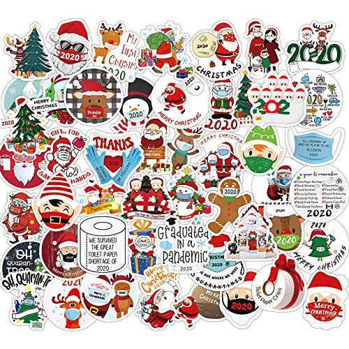 Christmas Stickers for Envelope for Kids,50 Cute Aesthetic Vinyl Waterproof Stickers for Laptop Water Bottle Scrapbooking, 2020 Christmas Quarantine Stickers