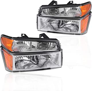 Replacement Headlights Assemby for 04-12 Chevy Colorado 04-12 GMC Canyon 06-08 Isuzu Pickup Chrome Bezel Amber Reflector Clear Lens Headlamps OE 20766569 20766570