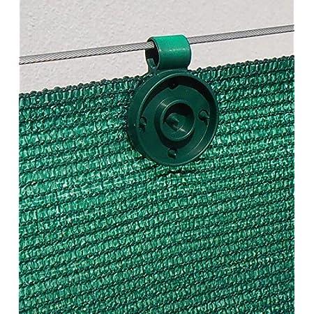 20 clips de fixation traités anti-UV pour brise vue de 90 à 350g/m2 (Vert)
