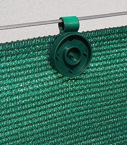 60 clips de fixation traités anti-UV pour brise vue de 90 à 350g/m2 (Lot de 60 pièces, Vert)