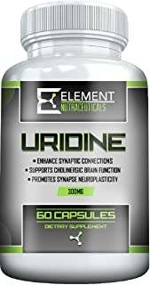 URIDINE MONOPHOSPHATE (300mg x 60 ct) by Element Nutraceuticals - Choline Enhancer, Supports Brain Health and Fuction