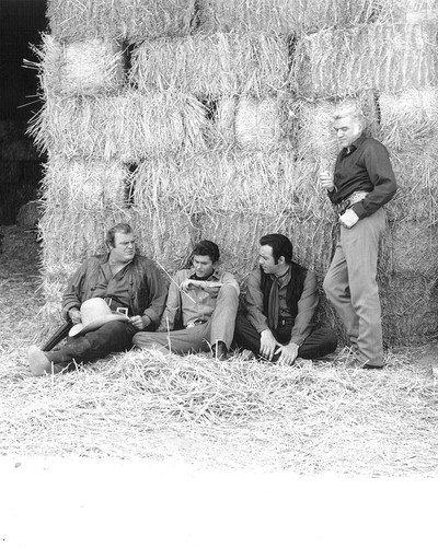 Bonanza Dan Blocker Michael Landon Pernell Roberts Lorne Greene Resting on set by hay bales