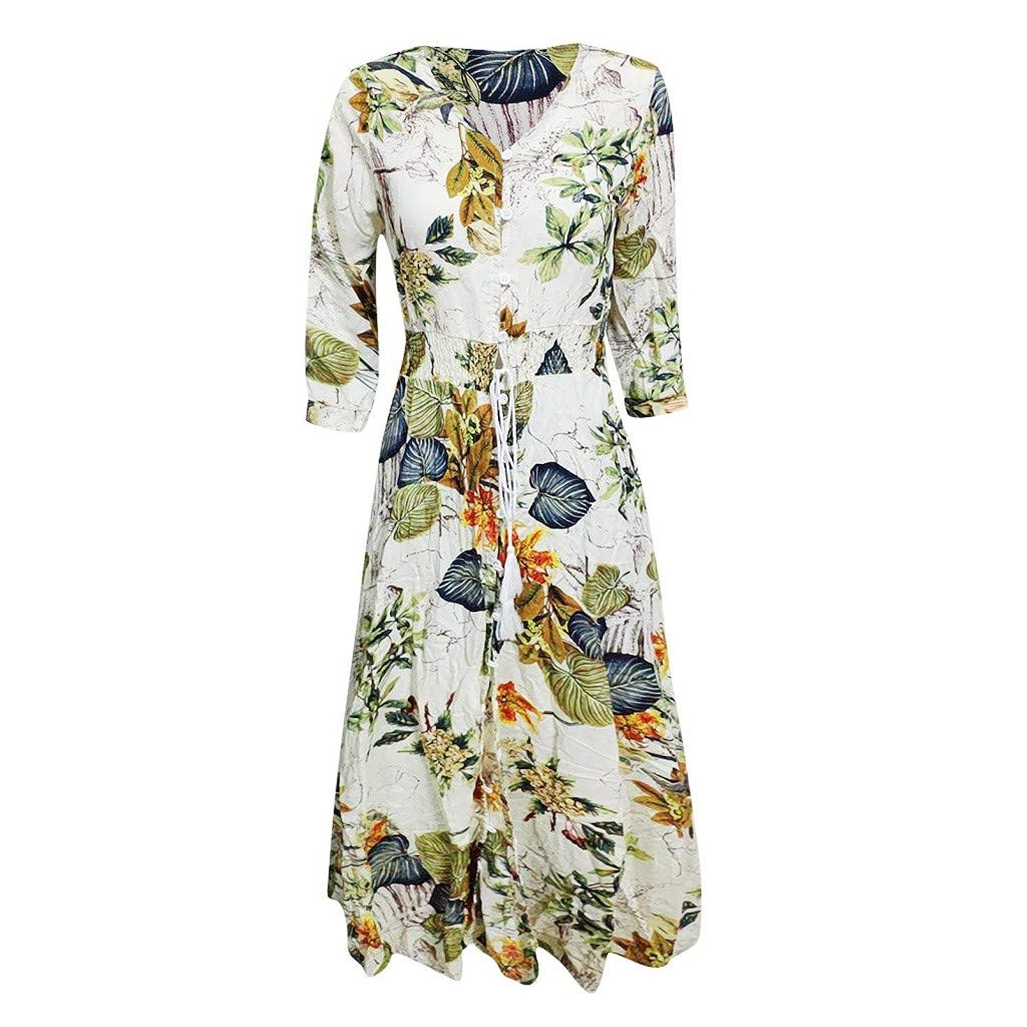 Women's Bohemian Floral Printed Wrap V Neck Short Sleeve Button Up Long Dresses Split Flowy Beach Party Maxi Dress