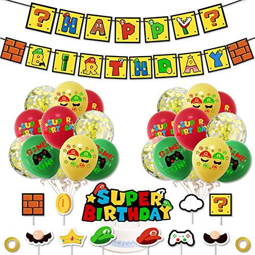 Super Mario Birthday Party Decorations, Mario Happy Birthday Banner, Mario Balloons and Mario Cake Toppers for Super Mario Theme Party Decoations