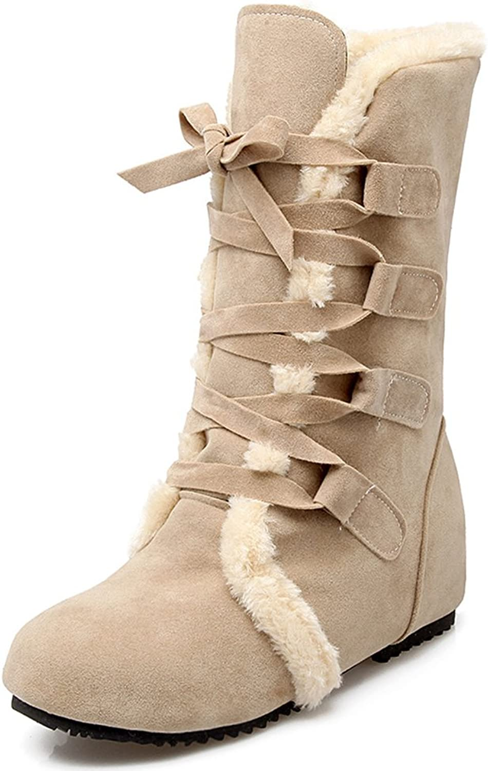IDIFU Women's Warm Faux Fur Lined Heighten Heels Lace Up Boots Ankle Snow Booties