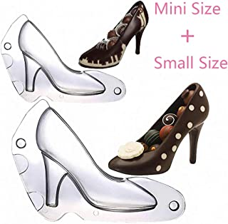 HiParty Mini & Small 3D High Heel Shoe Chocolate Mold, Polycarbonate Stiletto Heels Candy Mold Wedding Bridal Shower Favors Birthday Party Cake Decorating Tools (Set of 2)