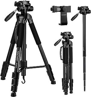 K&F Concept Treppiede per Fotocamera, KF2624L Treppiedi Fotocamera Alluminio Leggero con Supporto Mobile Monopiede Camera