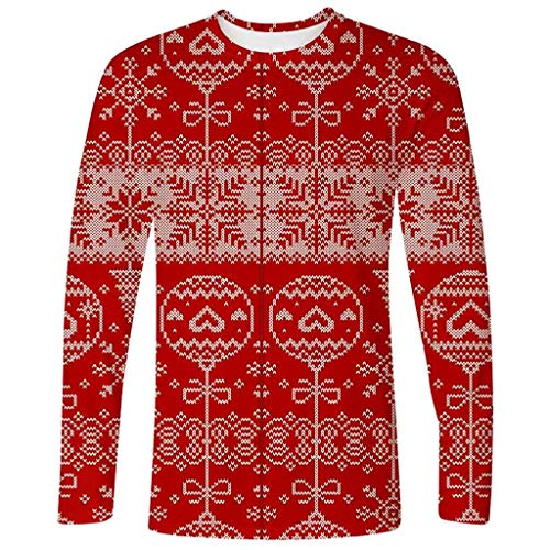 Sale!! Mens Ugly Christmas T-Shirt, Balloon Geometric Print Crewneck Long Sleeve Top Blouse (M, Red)