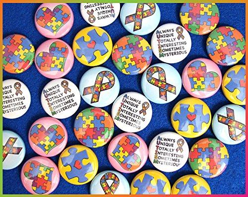 "ILMS Autism Awareness Mini Magnets. (1"" Magnets, 30 Piece Set)"