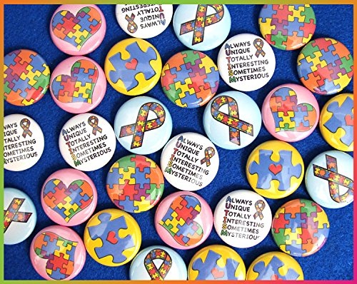 ILMS Autism Awareness Mini Magnets. (1' Magnets, 30 Piece Set)