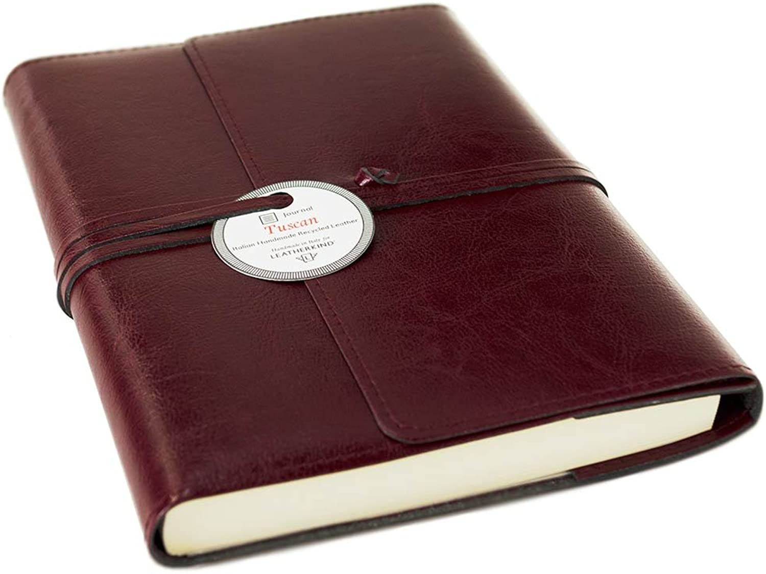 LEATHERKIND Tuscan Recycled Leather Refillable Journal Burgundy, A5 Plain Pages - Handmade in
