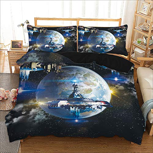 POMJK Superb 3D Spatial Ship Discovery Duvet Cover for Exploring the Solar Adventure of the Spatial Galaxy Ship, Boys Bedding Set (Galaxy 3.200 x 200 cm)