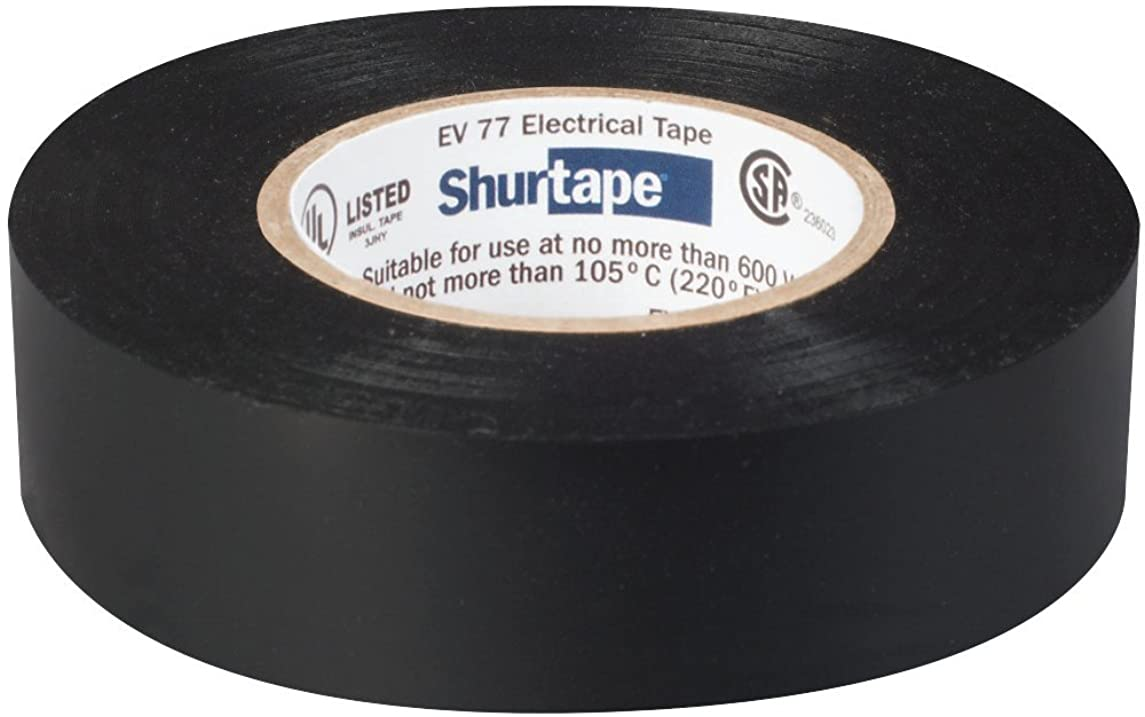 Shurtape EV 77 Professional Grade, All-Weather Vinyl Electrical Tape, UL Listed/CSA Approved, 7.0 Mil, Black, 3/4 Inch x 66 Feet, 1 Roll (104706)