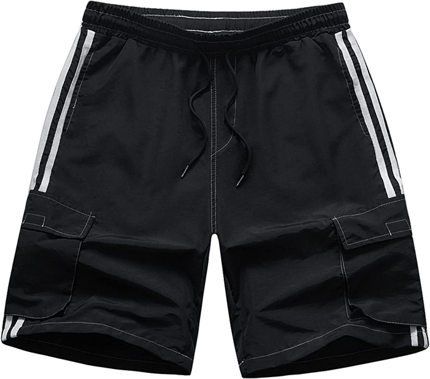 Wantess Men's Summer Shorts Loose Quick Dry Stitching Pockets Casual Comfortable