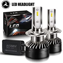 AUSI Extremely Bright H7 LED Headlight Bulbs Conversion Kit, Mini Sized Design with Fans Adjustable Beam CSP Chip CANbus-Ready IP65 6000K Xenon White - 2 Pack