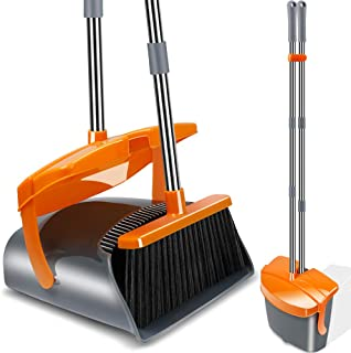 Kelamayi Broom and Dustpan Set, Long Handle Stainless Steel & Light Weight Lobby Broom Combo, Upright Dust Pan with Lid Ideal for Home, Kitchen, Room, Office Use (Gray & Orange)