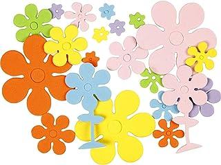 أشكال فوم أسيتات إيثيلين-فاينيل مقاس 10-60 ملم، سمك 2 ملم، ألوان أساسية، زهور، 100 قطعة.