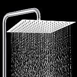 ZCZN Alcachofa de Ducha Cuadrada-Cabezal de Ducha de Alta Presión de Acero Inoxidable 304,Ultrafino y Ahorro Agua (8 Pulgada)