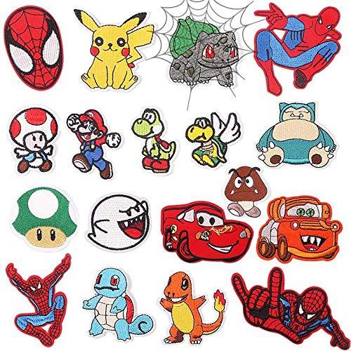 Patch Sticker,Parche termoadhesivo,Aplique de bordado adecuado para sombreros, chaquetas, abrigos, camisetas, , personaje de dibujos animados 18St