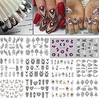 Tempytips 12 Sets Boho Mandala Mehndi Black Floral Tribal Nail Decals Over 120 Rose Petals Black Flower boutiques Nail Art Stickers Nail Wraps Nail Stencils Nail Stamping