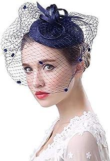 IBLUELOVER Sombrero de Boda Bibis Mujer Peinado Novia Fascinator Elegante Novia Horquilla Velo de Novia Prendas de Punto Cóctel Derby Iglesias Ceremonia Fotógrafo Fiesta Fiesta Disfraces