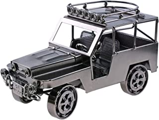 HSOMiD Collectible Handmade Modern Jeep Metal Sculpture Figurines Décor Home/Office Destop Accessory (B)(1pc)