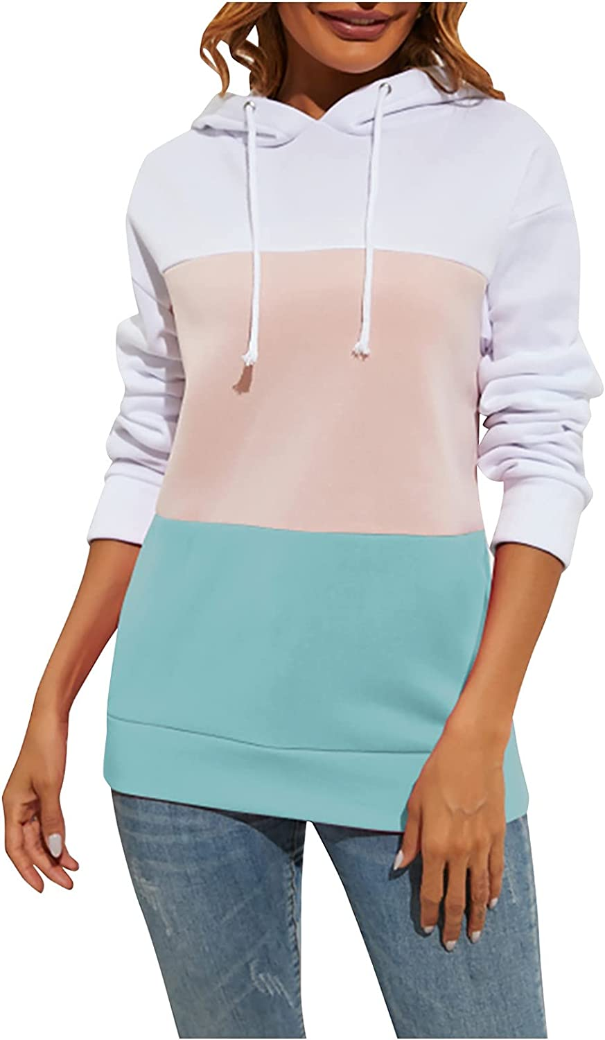 Pullover Blouse for Women Contrast Hooded Neck Max unisex 72% OFF Swea Round Color