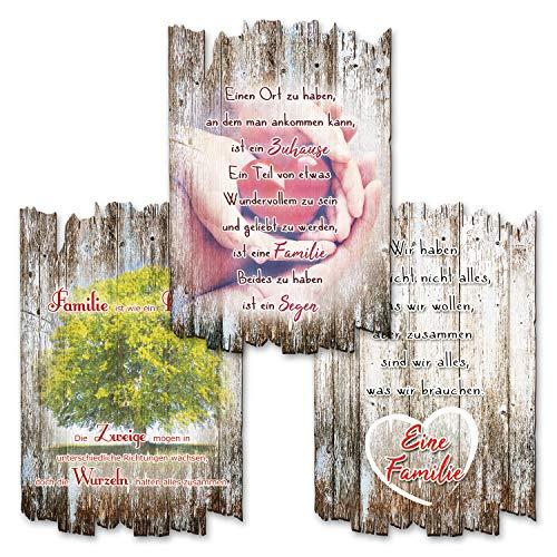 Kreative Feder 3er Set Deko Holzschild mit Spruch | Wandbild Familie Liebe | Shabby Chic Landhaus Stil | Wanddeko 30x20cm