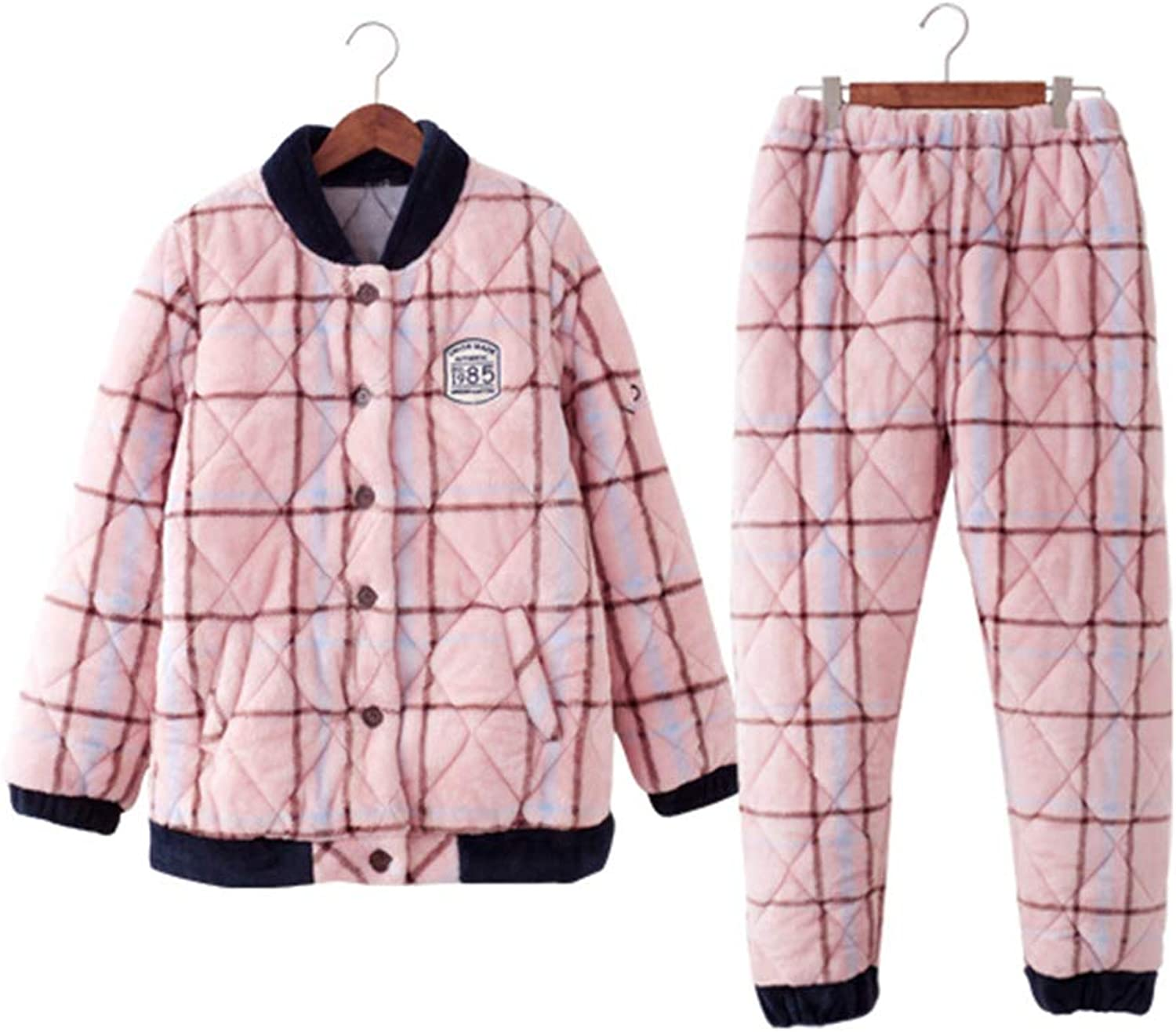 Nightgowns Pajamas Thickening Autumn and Winter Coral Velvet Quilted Couple Fashion Female LongSleeved Home Service Suit Pink Plaid Gift (color   Pink, Size   L)