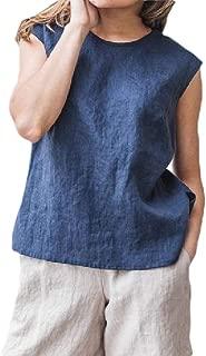 Howely Women Vintage Linen Casual Crew-Neck Pure Colour Vest Tank Top Shirt