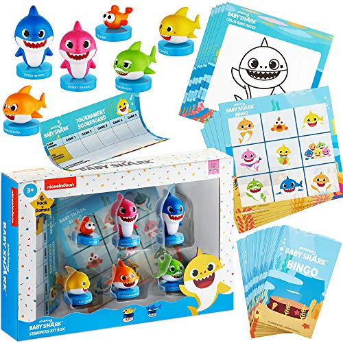 Baby Shark Bingo for Kids – Coloring Pages with 6 Self-Inking Baby Shark Figures/Stampers, Boards, Cards, Checkmarks, Scoreboard – Baby Shark Games, Toys, & Gifts by PMI, Ages 3+