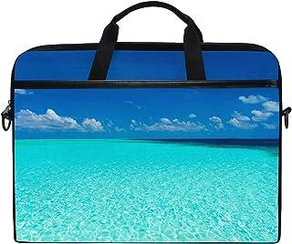 Ahomy Laptoptasche, 35,6 cm 14 Zoll, tropischer Türkis, Strand, Blau, Meer, Segeltuch, Laptoptasche, Business-Handtasche mit Schultergurt für Damen und Herren