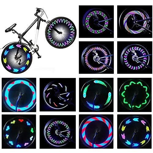 Rottay Bike Wheel Lights, Bicycle Wheel Lights Waterproof RGB Ultra Bright Spoke Lights 14 LED 30pcs Changes Patterns Safety Cool Bike Tire Accessories Kids Adults Visible from All Angle