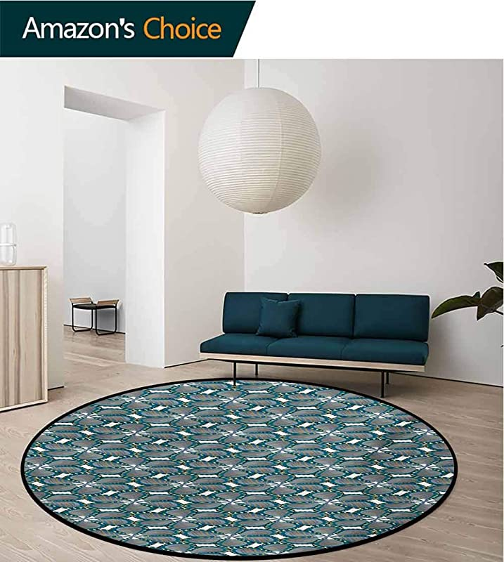 RUGSMAT Small Round Rug Carpet Retro Plaid Design Checkered Squares Rainbow Colored Geometric Pattern Door Mat Indoors Bathroom Mats Non Slip Round 71 Inch Multicolor