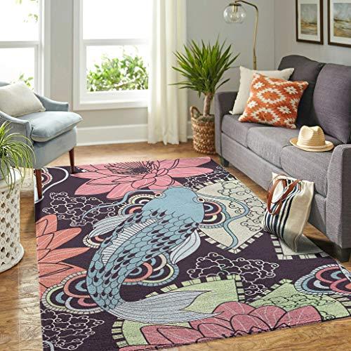 Veryday Koi - Alfombra decorativa con diseño de peces y flores, para salón, para dormitorio, habitación infantil, color blanco, 50 x 80 cm