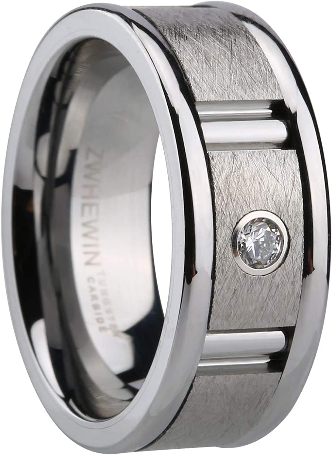 HEWINZW Tungsten Rings Online limited product for Men Philadelphia Mall Brick Silver 9mm Pattern Brushed