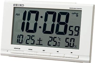 セイコークロック(Seiko Clock) 置き時計 白 本体サイズ:9.1×14.8×4.7cm 目覚まし時計 電波 デジタル カレンダー 温度 湿度 表示 SQ789W