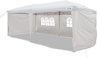Goutime Faltpavillon Pavillon Partyzelt Wasserdicht 3x6m Mit 4 Seitenwänden Und Tasche Mit Rädern, Für Garten/Party/Hochzeit/Picknick (Weiß)