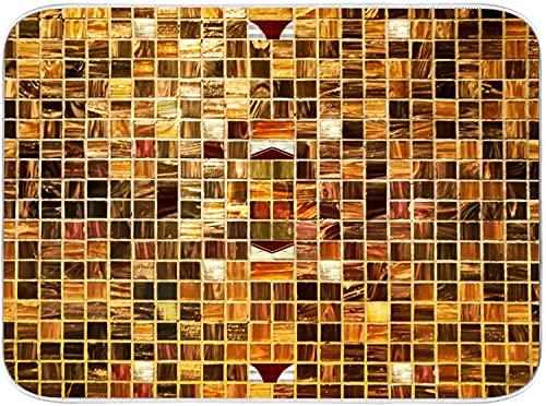 JISMUCI Alfombrilla de Secado de Platos Azulejos de mosaico de oro Cocina Almohadilla de Microfibra Seca Fácil de plega Lavable a máquina 40.6x45.7cm