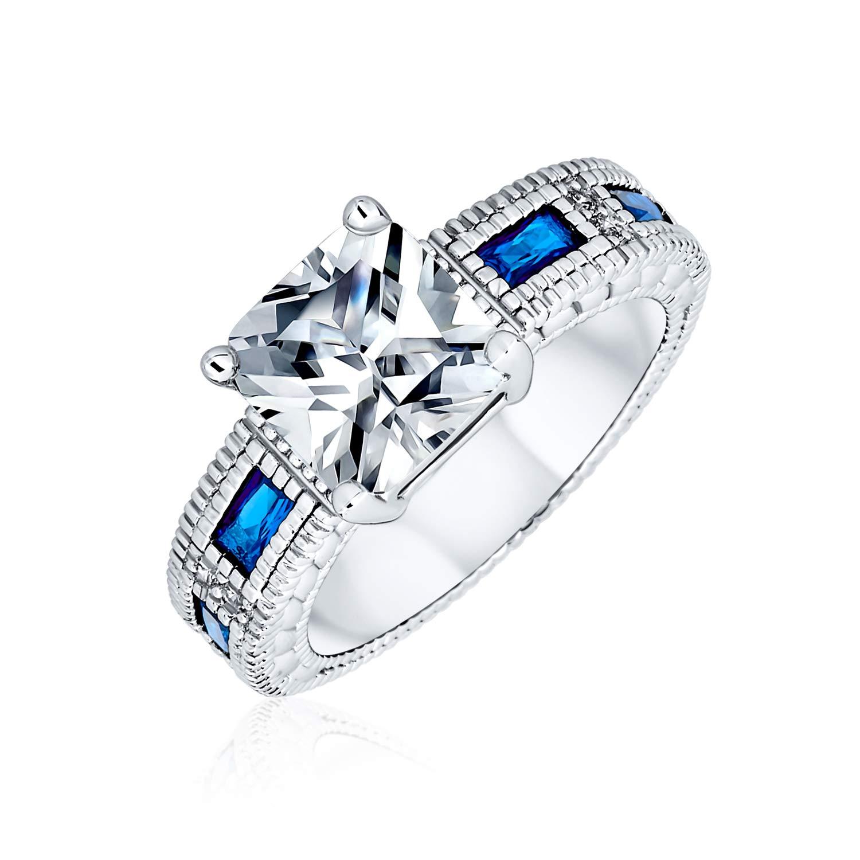 NIKOLay Stylish Bow Ring Rhinestone Crystal Engagement Wedding Statement Rings for Party Wedding,Size 7