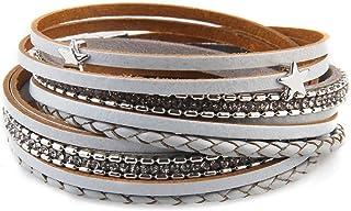 Devildom Men Women Star Multi-Layer Leather Bracelet Braided Woven Chain Wrap Cuff Bangle Fashion Magnetic Clasp Handmade ...