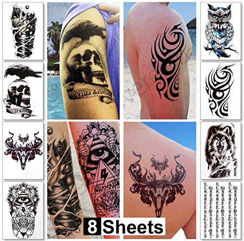8fogli di tatuaggi temporanei ragazzi/uomini,...