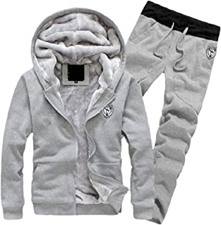 Sodossny-AU Mens Winter Fleece Lined Fashion Thick Hoodie and Pant Tracksuit Outwear