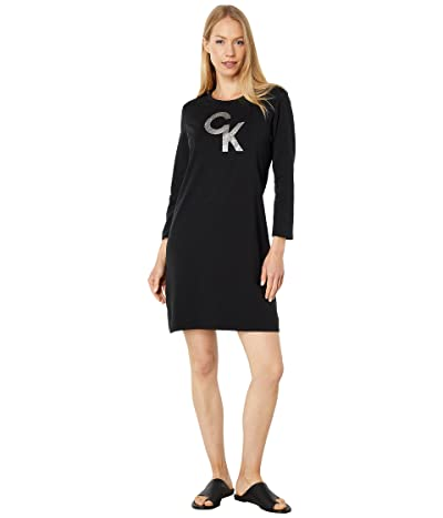 Calvin Klein Long Sleeve Logo Tee Dress