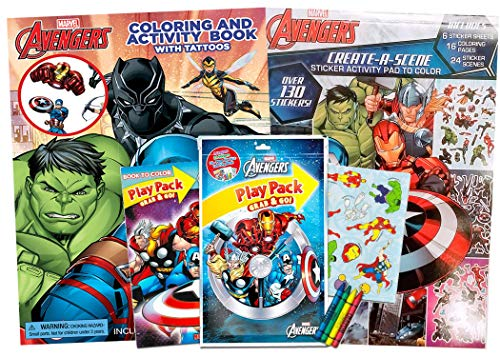 Marvel Avengers Coloring Book and Sticker Activity Pad with Tattoos, Stickers and Crayons