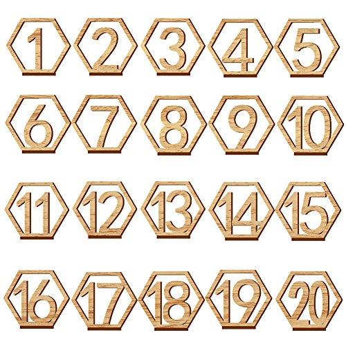 Lot de 20 numéros de table en bois, 1 à 20 cartes hexagonales creuses avec support pour mariage, fête, restaurant, club, café, événements ou décoration de table de traiteur.