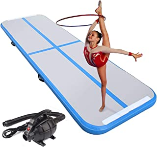 Lucear 10ft/13ft/16ft/20ft Air Track Inflatable Gymnastics Tumbling Mat AirTrack for Yoga Cheerleading Practice Gymnastics Beach Park Home use with Air Pump